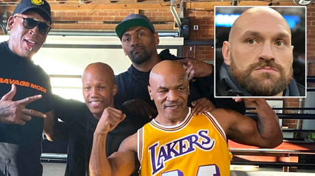 Boxing icon Mike Tyson (second from right) has posed with NBA legend Dennis Rodman (left), ex-boxer Zab Judah (second from left) and ex-NBA player Metta Sandiford-Artest (centre) while praising Tyson Fury © Instagram / zabjudah   © Steve Flynn / USA Today Sports