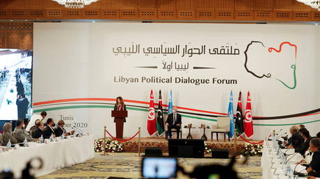 FILE PHOTO: UN Libya envoy, Stephanie Williams, speaks during the Libyan Political Dialogue Forum in Tunis, Tunisia, on November 9, 2020.