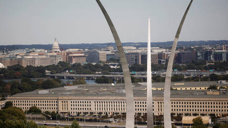 The Pentagon, seen behind the US Air Force Memorial and with the US Capitol in the background, October 9, 2020.