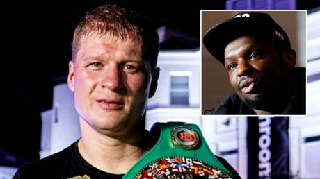 Dillian Whyte (right) has accused Alexander Povetkin of faking a Covid-19 diagnosis that kept him in hospital with the coronavirus © Instagram / povetkinalexandr | © Action Images via Reuters / Jason Cairnduff