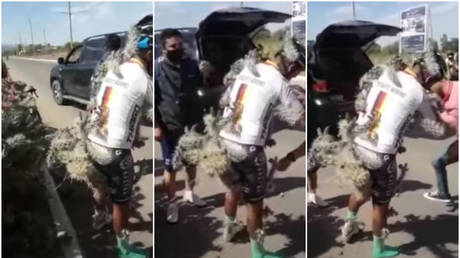 OUCH! Cyclist hospitalized with body covered in SPIKES after agonizing crash into CACTUS (VIDEO)