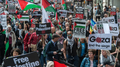 A protest organised by the Stop the War Coalition and Palestine Solidarity Campaign in support of the Palestinian people on May 11, 2019 in London © Guy Smallman/Getty Images
