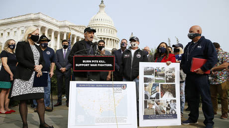 "FILE PHOTO: Comedian and writer Jon Stewart (C) speaks at a press conference on ""The Presumptive Benefits for War Fighters Exposed to Burn Pits and Other Toxins Act of 2020"" at the House Triangle on September 15, 2020 in Washington, DC"