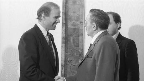 FILE PHOTO A visit by US Senator Joe Biden to the USSR. US Senator representing Delaware and member of the U.S. Senate Committee on Foreign Relations, Joe Biden, left, and Presidium of the Supreme Soviet of the USSR Andrei Gromyko during their meeting at the Kremlin. © Sputnik / Vladimir Rodionov