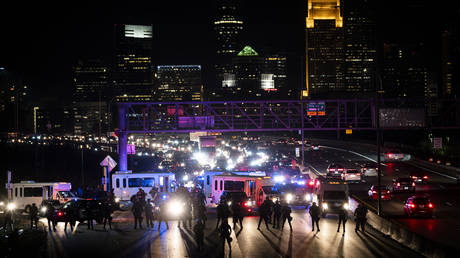 Police block traffic as demonstrators march on to highway I-94 on November 4, 2020 in Minneapolis, Minnesota.