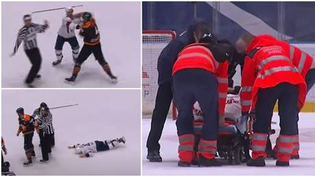 Hockey players Mark Louis and Patrik Maier were involved in a short-lived brawl in the Slovak league. © YouTube Tipos Extraliga