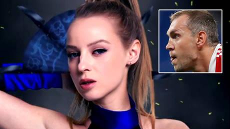 Ulyana Trigubchak (left) has used her new show to discuss Russia football captain Artem Dzyuba © Instagram / uly_3gubchak   © Maxim Shemetov / Reuters