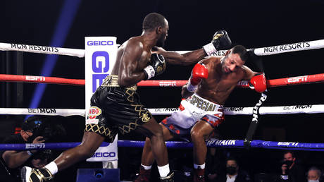 Crawford stopped Brook in round four in Las Vegas. © Top Rank Inc via Getty Images