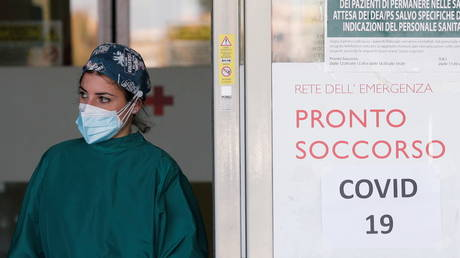 A medical worker waits for  coronavirus patients to arrive at the Policlinico Tor Vergata in Rome, Italy on November 13, 2020.