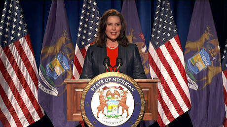 FILE PHOTO: Michigan Governor Gretchen Whitmer speaks during the virtual 2020 Democratic National Convention