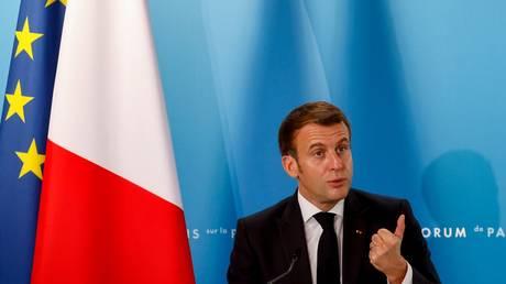French President Emmanuel Macron is shown speaking last week at the Paris Peace Forum.