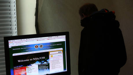 A visitor looks at a computer monitor displaying the website of the National Security Agency (NSA) and Central Security Service (CSS) at the Transmediale festival for art and digital culture on February 1, 2014 in Berlin, Germany.