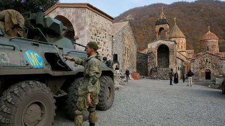 Russian peacekeepers are seen in the disputed Nagorno-Karabakh region on November 15, 2020.