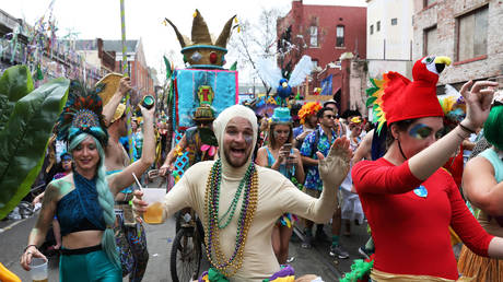 A file photo shows one of the 2017 Mardi Gras parades in New Orleans.