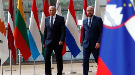 Slovenian Prime Minister Janez Jansa meets EU Council President Charles Michel in Brussels, Belgium (FILE PHOTO) © REUTERS/Francois Lenoir/Pool