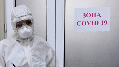 Medical worker in the obstetric Department for pregnant women with coronavirus in the maternity hospital №1 in Krasnodar.
