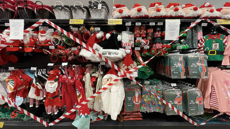 FILE PHOTO: Christmas items with tape across them in a Cardiff Bay Home Bargains store on October 27, 2020, in Cardiff, Wales.