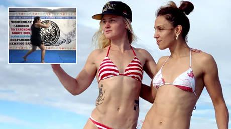 MMA mom Elena Shevchenko (left) has become a Muay Thai champion as Valentina (center) and Antonina prepare for UFC fights © Instagram / bulletvalentina / ufcsisters