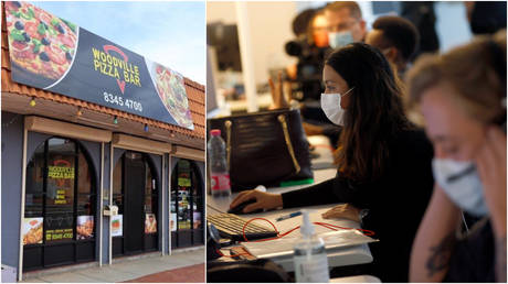 FILE PHOTOS: (L) The Woodville Pizza Bar in Woodville South, Australia © Twitter screenshot; (R) Workers at a contact tracing facility track down coronavirus infections © Reuters / Denis Balibouse