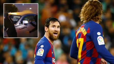 Lionel Messi (left) and Antoinr Griezmann at Barcelona © Juan Medina / Reuters | © Twitter / Cris10rellana