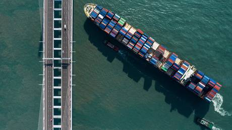 FILE PHOTO: A container ship in Hong Kong © AFP / Dale DE LA REY