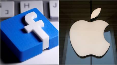 (L) Facebook logo © Reuters / Dado Ruvic; (R) Apple logo © Reuters / Brendan McDermid