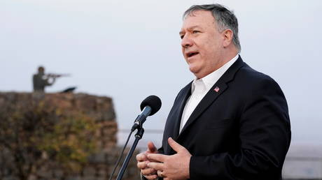 US Secretary of State Mike Pompeo speaks after a security briefing on Mount Bental in the Israeli-occupied Golan Heights November 19, 2020