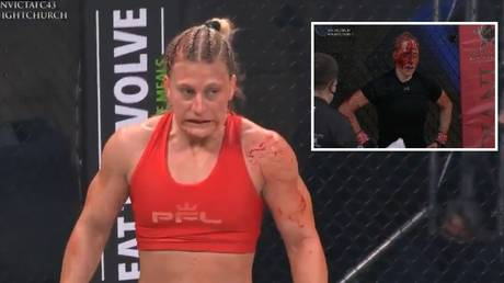 Kayla Harrison inflicted heavy damage on opponent Courtney King at Invicta FC 43. © Twitter @UFCFightPass / @InvictaFights