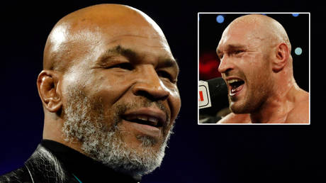 Mike Tyson (left) has spoken about Tyson Fury (right) and Anthony Joshua ahead of his fight with Roy Jones Jr © Steve Marcus / Reuters   © Mike Segar / Reuters