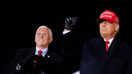 President Donald Trump and Vice President Mike Pence are shown at a campaign rally earlier this month in Michigan.