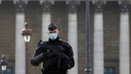 A French gendarme stands guard outside the National Assembly in Paris as the French Parliament votes, November 24, 2020. © REUTERS / Gonzalo Fuentes