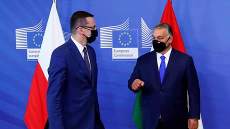 Poland's Prime Minister Mateusz Morawiecki and Hungary's Prime Minister Viktor Orban in Brussels, Belgium (FILE PHOTO) © REUTERS/Francois Lenoir/Pool/File Photo