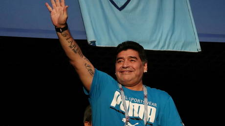 Maradona pictured at the World Cup in Russia in 2018. © Reuters
