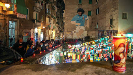 Napoli fans paid tribute after World Cup winner Maradona died at the age of 60 on Wednesday. © AFP