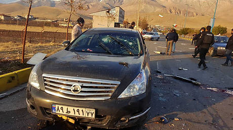 A handout photo made available by Iran state TV (IRIB) on November 27, 2020, shows the damaged car of Iranian nuclear scientist Mohsen Fakhrizadeh after it was attacked near the capital Tehran.