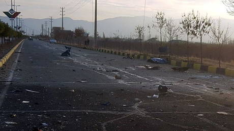 The site of the attack that killed Mohsen Fakhrizadeh, outside Tehran. ©WANA via REUTERS