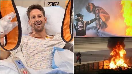 F1 driver Romain Grosjean spoke from hospital after his crash in Bahrain. © Instagram @grosjeanromain / Reuters