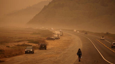 Smoke from wildfires covers an area near Orick, California, US