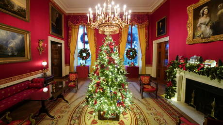 The Red Room of the White House is decorated ahead of Christmas holidays, November 30, 2020.