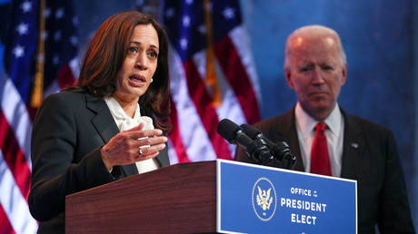 Kamala Harris and Joe Biden are shown speaking to reporters after a meeting earlier this month in Wilmington, Delaware.