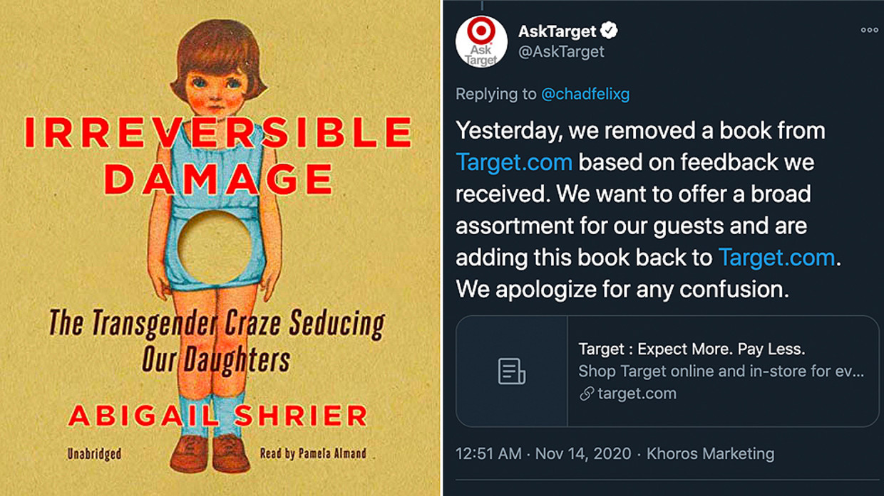 Target Removes Abigail Shrier's Book Warning Against Dangers of Transgenderism Before Adding It Back to Shelves After Customer Complaints