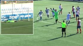 From HERO to ZERO! Spanish lower league goalkeeper SCORES last-gasp equalizer, then gets LOBBED from resulting kickoff (VIDEO)