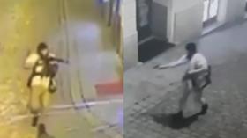 Vienna attack: CCTV, witness footage show terrorist suspect run around & open fire at central city sites
