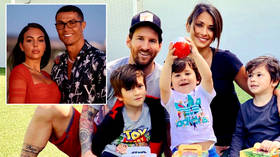 'How FAST they grow': Ronaldo's lover congratulates Messi's wife as she posts photos of son in Barcelona football kit on Instagram
