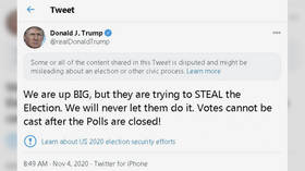 Trump calls results 'big WIN' & accuses opponents of 'trying to STEAL' election, gets 'misleading' label from Twitter