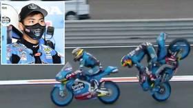 Head over heels: Teammates collide in SPECTACULAR practice crash at European MotoGP (VIDEO)