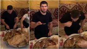 Feast like a champ: Retired UFC star Khabib Nurmagomedov joins teammates for MAMMOTH banquet (VIDEO)