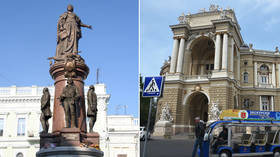 Protesters in Odessa call for statue of Catherine the Great to be toppled in attempt 'to get rid of Russian influence'
