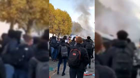 Violence erupts as high-school students clash with police on streets of Paris (VIDEO)
