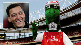 'Back where you belong': Mesut Ozil 'happy' at return of Gunnersaurus after offering to pay axed legendary Arsenal mascot's salary